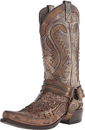 Stetson Mens Outlaw Distressed Harness Boot, Brown, 11.5 D US