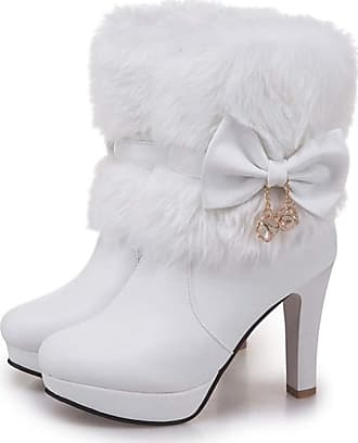 NOADream Women High Heels Snow Boots Mid-Calf Leather Platform Winter Plush Warm Stylish Sexy Walking Party Wedding Dress Ankle Boots White
