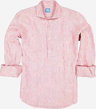 Panareha SARDEGNA stripes linen polera shirt red