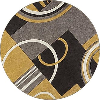 Well Woven 600110 Gold Galaxy Waves Modern Abstract Arcs and Shapes 53 Round Area Rug