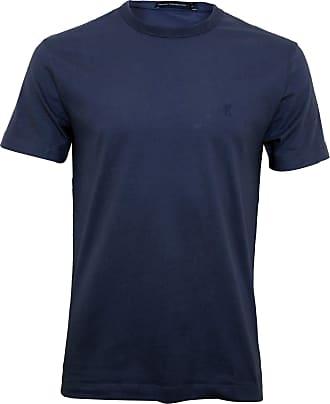 French Connection Mens Short Sleeve Reg Fit Solid Color Crew Neck Cotton T-Shirt, Bijou Blue, Medium