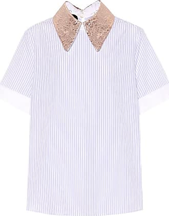 Rochas Brocade-trimmed striped cotton top