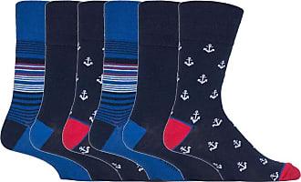 SockShop 6 pairs Mens SockShop Cotton Gentle Grip 6-11 uk Socks (6 x RJ549 Nautical)