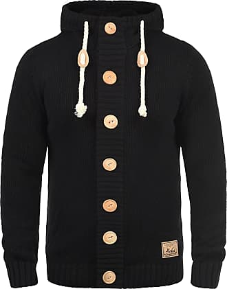 Solid Peer Mens Cardigan Chunky Knit Jacket with Hood, Size:S, Colour:Black (9000)
