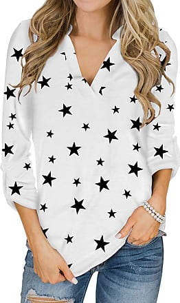 Yoins Women Long Sleeve V Neck Shirts Plaid Casual Tops Check Classical Blouses for Ladies Star Print-White S