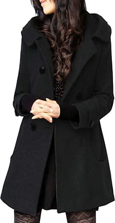 H&E Womens Slim Double Breasted Wool-Blend Hooded Trench Coat Pea Coat Black X-Large