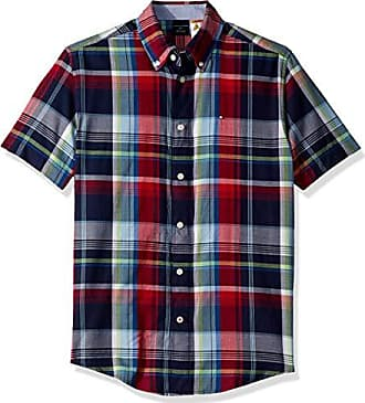 adeb542e Tommy Hilfiger Mens Adaptive Magnetic Short Sleeve Button Shirt Custom Fit,  Peacoat, Large