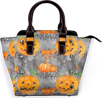 Browncin Pumpkin Head Halloween Decor Candy Lantern Bow-Knot Tree Branch Wreath Pattern Retro Oil Painting Art Detachable Fashion Trend Ladies Handbag Shoulder