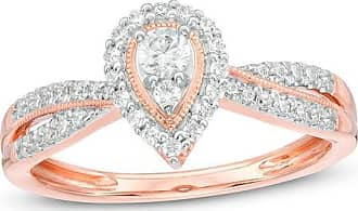 Zales 1/3 CT. T.w. Diamond Pear-Shaped Frame Vintage-Style Engagement Ring in 14K Rose Gold