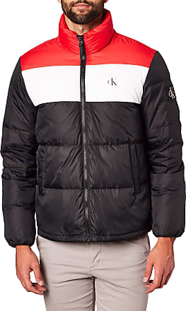 Calvin Klein Jeans Mens Color Block Down Puffer Jacket, CK Black/Racing Red, XL