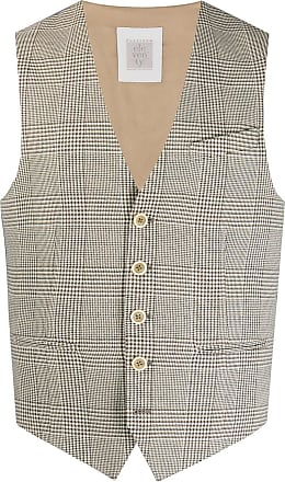 Eleventy contrast-panel check waistcoat - NEUTRALS