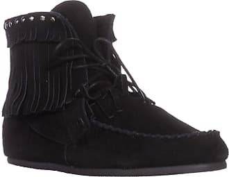 Yellow Box Womens Once Leather Almond Toe Ankle Cold Weather, Black, Size 6.0