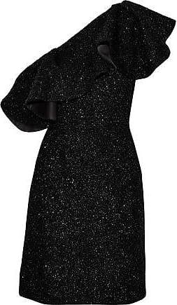 Halston Heritage Halston Heritage Woman One-shoulder Ruffled Tinsel Mini Dress Black Size 2