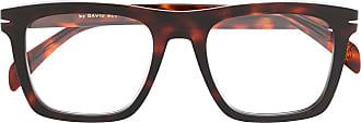David Beckham Armação de óculos retangular com efeito tartaruga - Marrom