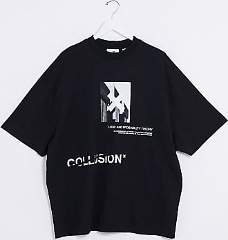 Collusion Schwarzes T-Shirt mit Print