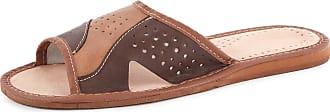 Ladeheid Men´s Leather Slippers Shoes Flipflops LABR108 (Brown/Beige, 11.5 UK)