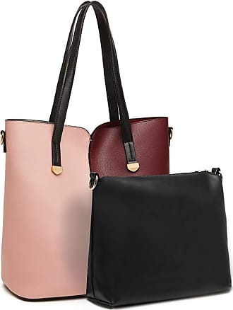 Quirk Two Tone 2 Piece Shoulder Bag Set - Pink And Burgundy