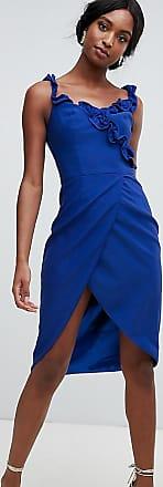 Chi Chi London Tall Chi Chi London - Tall - Koboltblå fodralklänning med omlott och volang