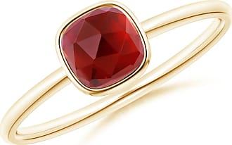Angara Valentine Day Sale - Bezel-Set Cushion Garnet Solitaire Ring