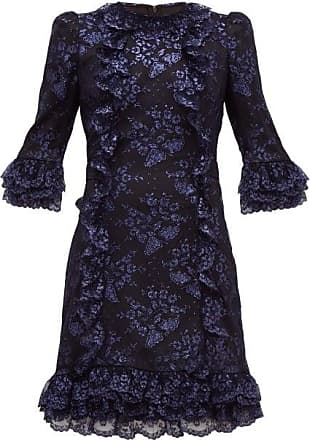 The Vampires Wife Cate Metallic Fil-coupé Silk And Lace Mini Dress - Womens - Black Navy