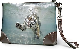 GLGFashion Womens Leather Wristlet Clutch Wallet Underwater White Tiger Storage Purse With Strap Zipper Pouch