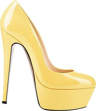Daytwork Womens Wedding Platform Stiletto - Ladies Super High Heel Slip On Stiletto Pump Closed Toe Fashion Evening Bride Party Shoes Yellow