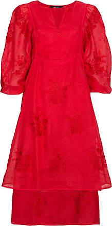 Vita Kin Vestido Happy Flowers de linho - Vermelho