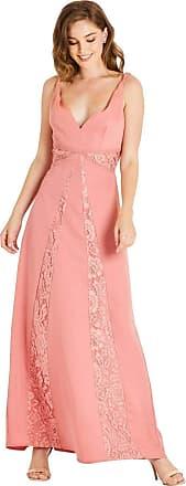 Little Mistress Miranda Orange Lace Plunge Maxi Dress 10 UK Desert Flower