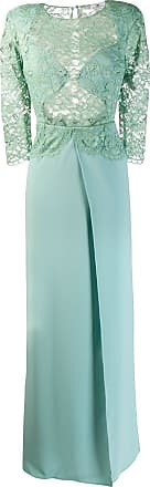 Elisabetta Franchi lace panel flare gown - Green