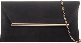LeahWard Womens Suede Flap Clutch Bag Wedding Night Out Handbag Evening Purse 717 (Black 315)