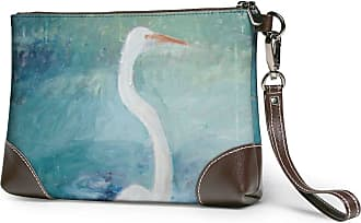GLGFashion Womens Leather Wristlet Clutch Wallet White Crane Storage Purse With Strap Zipper Pouch