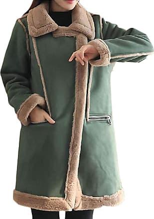VITryst Womens Slim Lapel Longline Lamb Wool Lined Faux Suede Jacket Overcoat,Green,X-Large