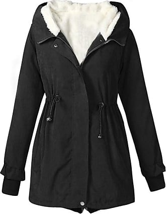 QUINTRA FNKDOR Women Winter Warm Solid Thicker Fleece Lining Hooded Jacket Coat Overcoat Outwear (Black,UK-28/CN-2XL)