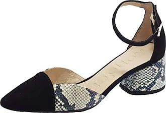 Wonders I-8002 Doors V Black Snake off Middle Heel Sandals in Nubuck and Black Leather Multicolour Size: 5 UK
