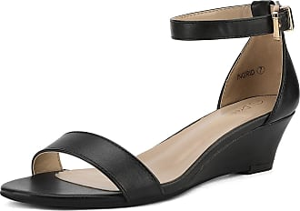 Dream Pairs Womens Ingrid Black Pu Ankle Strap Low Wedge Sandals Size 8.5 US/6.5 UK