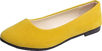 Vdual Ladies Slip On Flat Comfort Walking Ballerina Shoes Summer Loafer Flats UK 2.5-UK 8.5 Apricot Yellow
