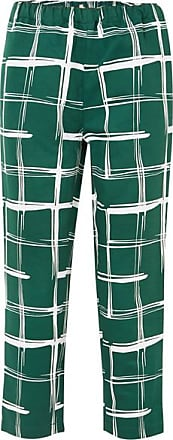 Marni Printed Cotton And Flax-blend Slim-leg Pants - Green