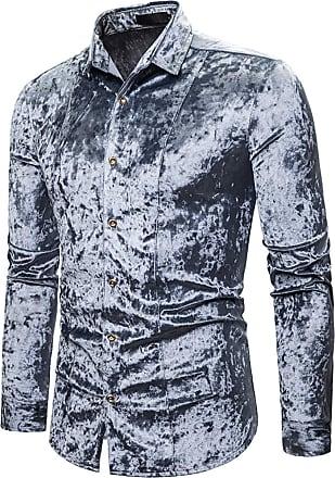 Whatlees Men Basic Design Long Sleeve Button Down Velour Dress Shirt Regular and Velvet LightGray 02010203XLightGray+M