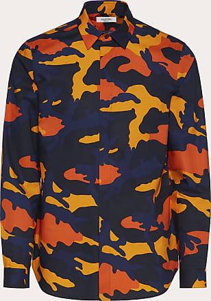 Valentino Valentino Uomo Camouflage Shirt Man Navy Camo/orange 100% Cotone 38