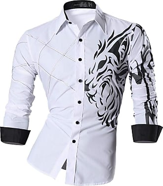 Jeansian Mens Premium Slim Fit Long Sleeves Casual Formal Shirts Dress Tops Office Button MFN, M, Z030_white