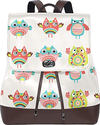 Ahomy Ladies Fashion PU Leather Backpack Cute Owl Cartoon Anti-Theft Rucksack Shoulder Bag