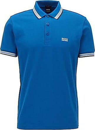 BOSS Cotton-piqué polo shirt with striped collar and cuffs