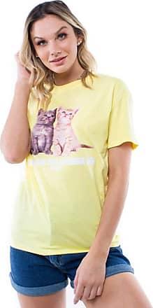 Pop Me Blusa Manga Curta Gatinhos Pop Me-amarelo-m