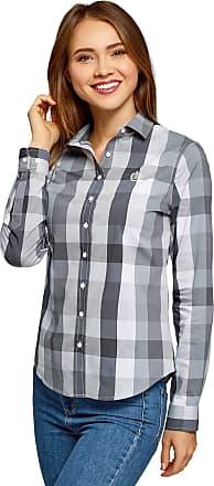 oodji Womens Straight-Fit Checkered Blouse, Grey, UK 6 / EU 36 / XS