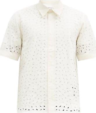 Ami Ami - Broderie-anglaise Cotton-poplin Shirt - Mens - Cream