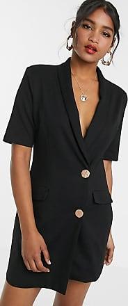 Unique21 Unique21 tuxedo gold button dress-Black