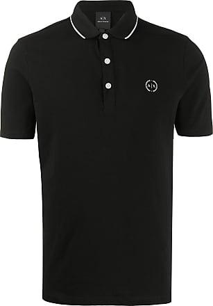 A|X Armani Exchange Camisa polo de algodão com listras - Preto