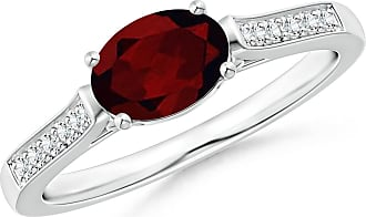 Angara Valentine Day Sale - East-West Oval Garnet Solitaire Ring with Diamonds