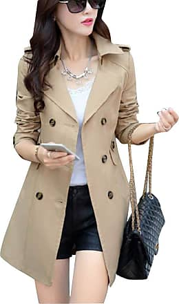 Yonglan Womens Double Breasted Trench Coat Outwear Jacket Long Overcoat Khaki L