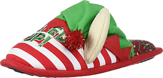 Dearfoams Womens Unisex Holiday Funny Character Ugly Sweater Scuff Slipper, Lets Get Elfed Up Red Stripe, 8 6 Men M US